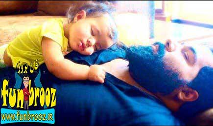 دو عکس جالب از رضا صادقی و دخترش