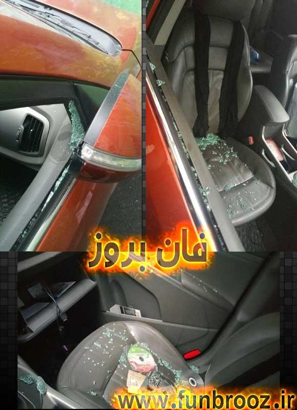 حمله ی افراد ناشناس به ماشین حامد زمانی